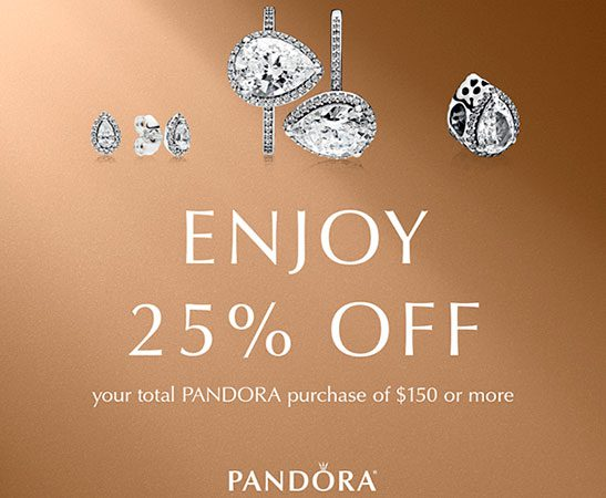 Take 25% off your total Pandora purchase of $150 or more...