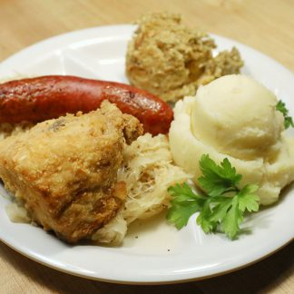 Chicken and Brat Dinner with two sides